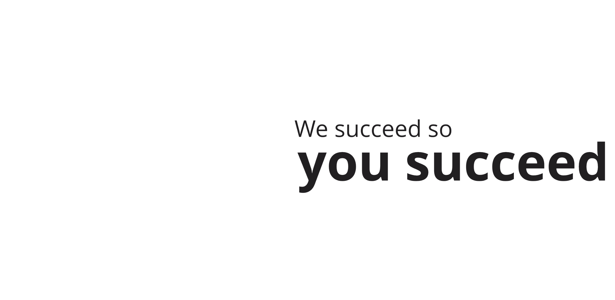 We succeed so you succeed